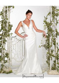 Beautiful Elegant Exquisite Taffeta Wedding Dress In Great Handwork - Buyanewdress.com