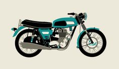 1970 Blue Motorcycle by Methane Studios