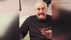 Grandpa's teeth fall out while playing Speak Out
