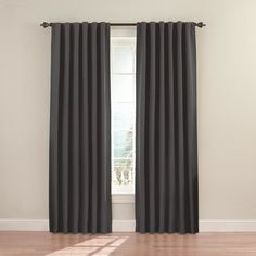 eclipse Fresno 108-in Charcoal Polyester Rod Pocket Single Curtain Panel