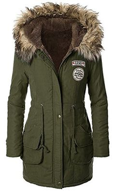 American Trend Women's Faux Fur Lined Hooded Outdoor Winter Parka Coats Long Jacket * Want additional info? Click on the image.