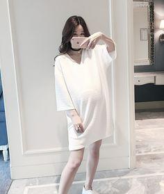 CW34332 Summer long loose dress fold fashion pregnant woman tops