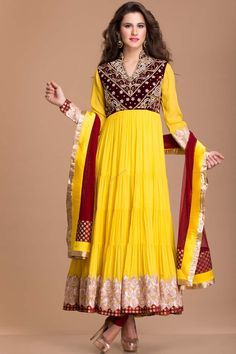 Yellow Crepe and Viscose, ready to wear anarkali churidar suit. Yoke and daman/hem embroidered with zari, zircon and crystal work with price RM499.00 http://www.andaazfashion.com.my/salwar-kameez/anarkali-suits/anarkali-churidar.html