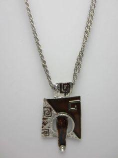 Retro Pendant Necklace 60s 70s Style Brown Enamel Clear Stone Silver Tone Chain