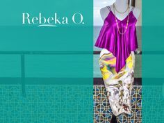 Handmade Silk Charmuse purple blouse and a Cotton Silk Spandex high waist skirt by Rebeka O. Available in: Blouse S/M / Skirt 5-6 | contact@rebekao.com | #RebekaO #ResortWare