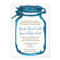 Blue Mason Jar Country Rustic Wedding Invitations