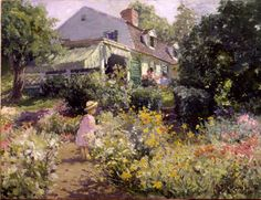 """""""In Voorhees' Garden"""", Matilda Browne (1869-1947), 1914, Oil on canvas, 18 x 24"""", Florence Griswold Museum."""