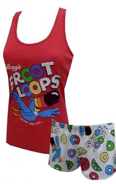 Kelloggs Fruit Loops Toucan Sam Shortie Pajama Set, $25 Adorable! These pajama sets for juniors feature Kelloggs Toucan Sam on a red athletic style tank top. Co-ordinating elastic waist sleep shorts have an all-over print of Toucan Sam, Fruit Loops and colorful fruit . Machine washable and easy care. Junior cut. Super soft and great for sleeping or lounging. Image on tank top is intentionally distressed for a vintage look.