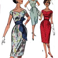 Vintage 50s 60s Wiggle Dress Pattern / Slim Fit by ScarlettsVault, $24.50