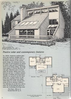 Vintage House Plans, Passive Solar Plan No. The Plan, How To Plan, Vintage House Plans, Modern House Plans, Sims House Plans, House Floor Plans, Passive House Design, Earth Sheltered Homes, Passive Solar Homes