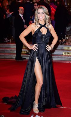 Taking centre-stage: Charlotte Hawkins stunned in a sizzling gown at the ITV Gala at Londo. Sexy Older Women, Sexy Women, Blue Peter Presenters, Beautiful Women Over 50, Beautiful Females, Charlotte Hawkins, Hollywood Actress Photos, Tv Girls, Lovely Legs