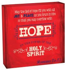 "WOODEN DECOR BLOCK:  HOPE (WBL002).  Available from Faith4U Book- and Giftshop, Secunda, SA. Email ""faith4u@kruik.co.za"""