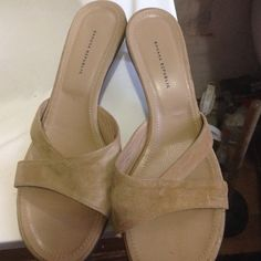 Banana republic sandal It's tan suede slip on!!!! Great condition!!!! Worn once!!!! Banana Republic Shoes