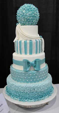 Blue and white fondant cake...amazing!!!