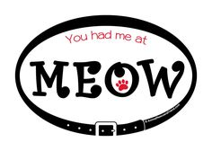 You had me at MEOW - Euro Pet Cat Car MAGNET - 4x6 Oval - Outdoor Indoor - 30 mil - Animal Rescue - Pet Cat Lover Gift - Donates to rescue by AnimalRescuersFriend on Etsy https://www.etsy.com/listing/465091297/you-had-me-at-meow-euro-pet-cat-car