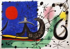 """Joan Miró - Le Lézard aux Plumes d'Or, 1967, Color lithograph on Japon paper, 14"""" x 19 ½"""""""
