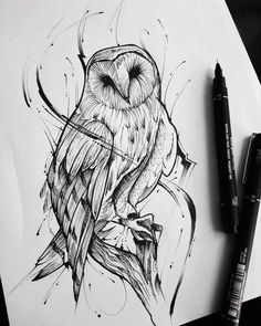 Animal Sketches, Art Drawings Sketches, Tattoo Sketches, Animal Drawings, Drawing Animals, Bild Tattoos, Body Art Tattoos, Owl Tattoo Design, Tattoo Designs