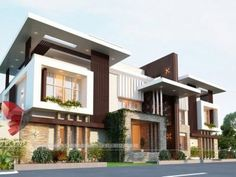 See Complete Architectural Visualization, Rendering, Interior Exterior Designs gallery at one place. Modern Bungalow Exterior, Modern Exterior House Designs, Latest House Designs, Unique House Design, House Front Design, House Design Photos, Cool House Designs, Exterior Design, 3 Storey House Design