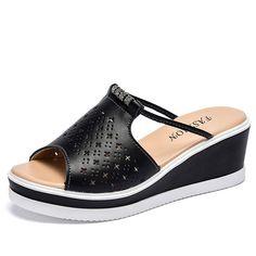 72549fc36c O16U Mulheres Chinelo Sandálias de Salto Plataforma Cunhas Peep toe de  Cristal de Couro Elegantes Sandálias