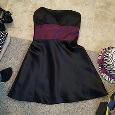 Black and Dark purple tie Strapless Bill Levkoff Dresses Midi