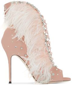 Giuseppe Zanotti 'Charleston' Pink Suede and Feathers High Heel Sandals