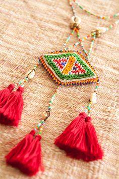 Kuchi Beaded Tassels Necklace/ Ethnic / Hippie / by CHEZMOIMYHOME, $50.00