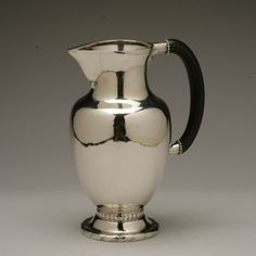Georg Jensen Sterling Silver Large Water Pitcher No. 5, Handmade Sterling Silver - Gallery 925