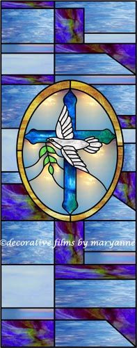 Custom Decorative Window Film cross design with dove and bible decorative window film | faux