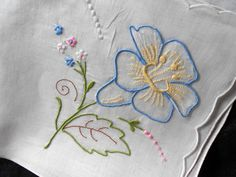 Vintage MADEIRA Blue Pink Yellow Flower Embroidered White Handkerchief Embroidery Hankie Applique Floral Hanky via Etsy