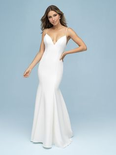 9603 Allure Bridals Wedding Dress, Matte Crepe Creates A Statuesque Effect & Softens The Back With A Statement Bow. View The Collection Online Or In Store. Wedding Dresses For Girls, Wedding Dress Sizes, Bridal Wedding Dresses, Bridal Style, Girls Dresses, Bridesmaid Dresses, Lace Wedding, Dream Wedding, Wedding Stuff