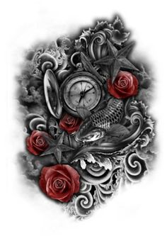 Clock to be Sea Tattoo Full Sleeve Tattoos, Back Tattoos, Tattoo Sleeve Designs, Future Tattoos, Tattoo Designs Men, Leg Tattoos, Body Art Tattoos, Tattoo Drawings, Tattoos For Guys
