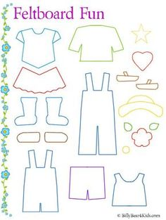 Felt board clothes template as well as many others such as lady bug counting, ice cream cone colors, etcFelt board clothes template is a good idea because children can dress a character as you tell the story. This can help them get familiar with gett Quiet Book Templates, Quiet Book Patterns, Felt Patterns, Felt Board Templates, Applique Templates, Applique Patterns, Card Templates, Felt Diy, Felt Crafts