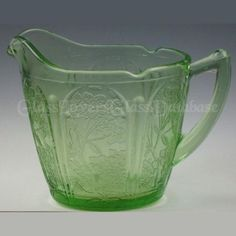 CHERRY BLOSSOM Green Creamer by Jeannette Cherry Blossom, Glass, Green, Drinkware, Cherry Blossoms, Yuri