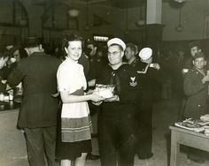 These volunteers baked and fried countless amounts of food. In one month in 1945, there was an effort to count exactly how much was being distributed. Its total follows: 40,161 cookies 30,679 hard boiled eggs 6,547 doughnuts 6,939 cup, loaf, and birthday cakes 2,845 pounds of sandwich meat 12 dozen different items in similar proportions