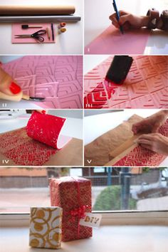 How to: Holiday Wrapping Paper  You will need:  Speedball carving tool  Rubber block stamp  Paint or ink  Brush  Solid color wrapping paper  Pencil  Gift  1. Draw your design onto the rubber block stamp with a pencil.    2. Hold your carving tool at an angle and cut into the block making shallow grooves along your design .    3. Lay out the desired amount of wrapping paper then apply a light layer of paint to the face of your stamp.    4. Continuously stamp the surface of your wrapping…