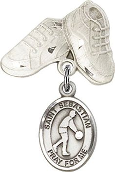 Sterling Silver Baby Badge with St SebastianBasketball Charm and Baby Boots Pin *** Read more at the image link.