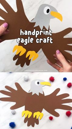 Handabdruck Eagle Craft für Kinder - DIY with kids - Kids Crafts Daycare Crafts, Easy Crafts For Kids, Preschool Crafts, Preschool Kindergarten, Children Crafts, Art Children, Children Art Projects, Art Project For Kids, Creative Ideas For Kids