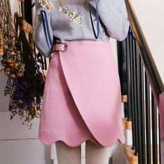 Mori Clothing Midskirt on Mori Girl の森ガール.Fairy Slant Spliced Pink Midskirt Wavy High-Waist Skirt Mg301 get yourself ready to look cute.