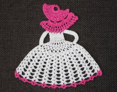 Crinoline Lady Hand Crochet Doily in Shades of Pink by designedbyl