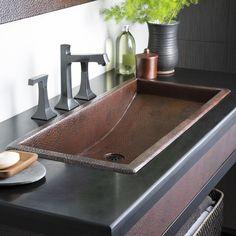 Native Trails, Inc. Trough Metal Rectangular Undermount Bathroom Sink - Native Trails, Inc. Drop In Bathroom Sinks, Copper Bathroom, Undermount Bathroom Sink, Dream Bathrooms, Bathroom Faucets, Small Bathroom, Copper Sinks, Bathroom Ideas, Kitchen Sinks
