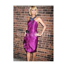Celebrity Dress - Paris Hilton Style Fuchsia Satin Knee-length Halter Celebrity Dress (140 AUD) found on Polyvore