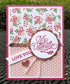 Krystal's Cards: Stampin' Up! Bloomin' Love My Valentine #krystals_cards #stampinup #bloominlove #handstamped