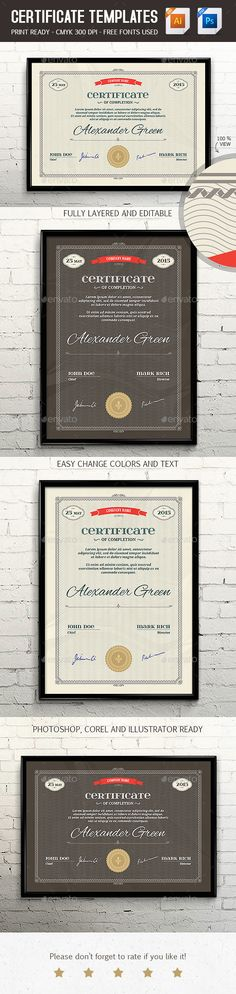 Certificate Template PSD & EPS Print Ready - Certificates Stationery #design #template #certificate