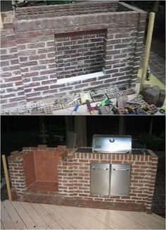 Installing Grill How To Build An Outdoor Fireplace Homesteading DIY Skills Build Outdoor Fireplace, Backyard Fireplace, Old Fireplace, Fireplace Design, Diy Fire Rings, Brick Grill, Backyard Kitchen, Diy Fire Pit, Outdoor Projects