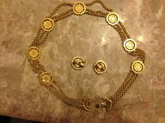Vintage Original Monet Chain Necklace coins with Earrings (80's) #Monet