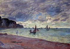 """""""Fishing Boats by the Beach and the Cliffs of Pourville"""" ・ by Claude Monet ・ Completion Date: 1882 ・ Style: Impressionism ・ Genre: landscape"""