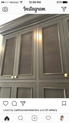 he brass mesh detail on these lockers turned out even better than imagined. Hoping to shoot this home soon to share with you! Kitchen Doors, Cupboard Doors, Kitchen Cabinets, Built In Bar, Built Ins, Floating Shelves By Fireplace, Built In Cupboards, Door Detail, Wardrobe Doors