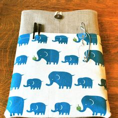 13 inch laptop Macbook Mac book Air / Pro Cover Padded Case Sleeve - Linen with Kokka Linen Blue Elephant Fabric Pocket. $25.99, via Etsy.