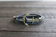 Brass Anchor Bracelet with Pacific Blue Soft by RUSTICBRAND, $25.00