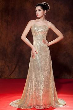 Zipper Court Train Sequins Elegant Sleeveless Golden Sequined/Satin Sweetheart Floor-length Natural A-line Celebrity Dresses
